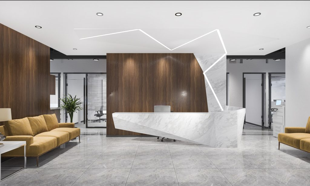 modern luxury hotel and office reception and lounge with meeting chair and yellow sofa